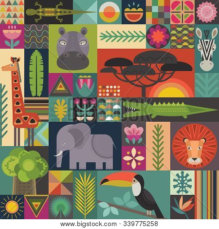 Vector Seamless Pattern With Geometric Cartoon African Animals, Jungle Plants And Trees. Patchwork M