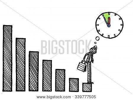 Freehand Drawing Of Business Man At The Bottom End Of Negative Growth Graph Pondering Five To Twelve