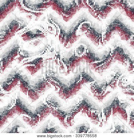 Noisy Brushed Mottled Stains On Chevron Stripes