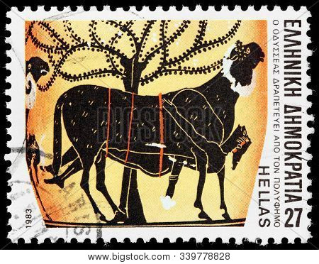 Luga, Russia - October 25, 2019: A Stamp Printed By Greece Shows Ulysses Escaping From One-eyed Gian