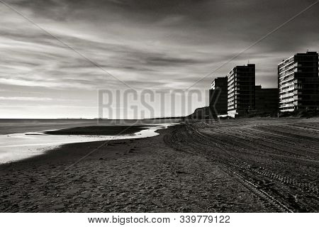 Beautiful Sunrise On The Beach In Arenales Del Sol, Alicante,southern Spain. Monochrome And Long Exp