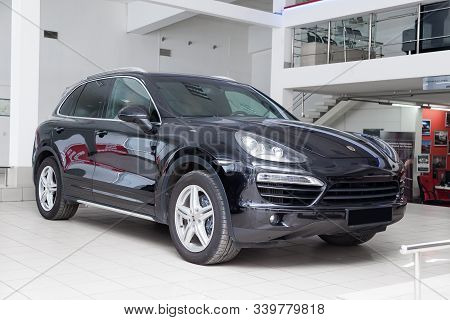 Novosibirsk, Russia - 08.01.2018: Front View Of Porsche Cayenne Diesel  958 2012 In Black Color Afte