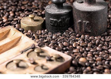 Metal Weights And Coffee Beans