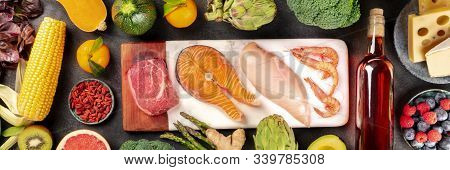 Food Panorama, A Flatlay With Meat, Fish, Chicken And Shrimps, Vegetables And Fruits, Wine And Chees