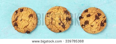 Chocolate Chip Cookies, Gluten Free, Flatlay Panorama. Shot From Above On Blue