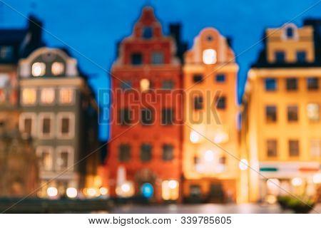 Stockholm, Sweden. Famous Old Colorful Houses. Abstract Boke Bokeh Background. Design Backdrop.