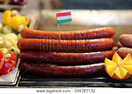 Closeup Of Fried Traditional Hungarian Luncheon Meat Foodish Name Is Kolbasz Sauseges
