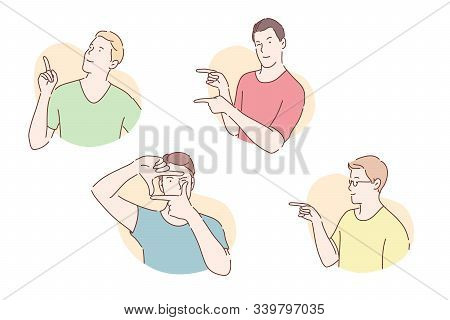 Gesticulation, Pose Demonstration, Pantomime Concept. Young Men Gesticulating With Arms, Confident G