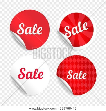Red Sale Stickers Or Promo Badges. Circle Last Super Sales Sticker Seals, Vector Market Special Offe