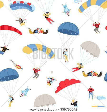 Skydivers Seamless Pattern. Skydiving Repeating Background, Extreme Sky Jumpers With Parachutes, Par