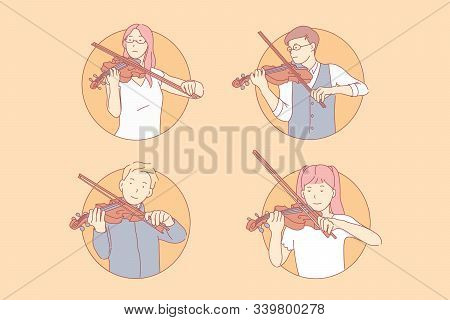 Musical Performance, Classical Concert Concept. Virtuosos, Talented Kids, Young Violinists, Children
