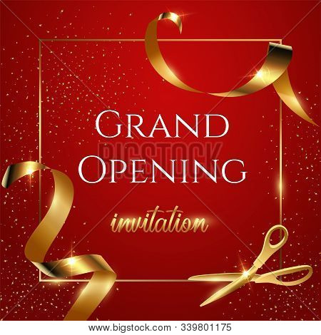 Grand Opening Red Invitation Vector Banner. Mall, Store Sales Promotional Poster. Shiny Scissors Cut