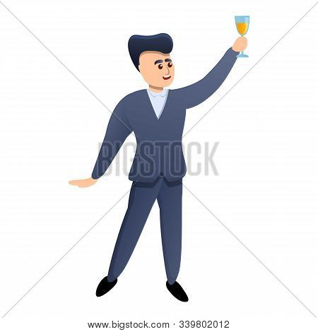 Team Manager Champagne Toast Icon. Cartoon Of Team Manager Champagne Toast Vector Icon For Web Desig