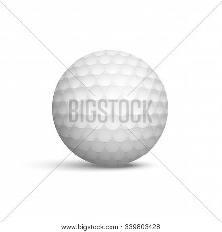 Golf Ball Realistic Vector Illustration. Sport Equipment For Playing Outdoor Game 3d Isolated Clipar