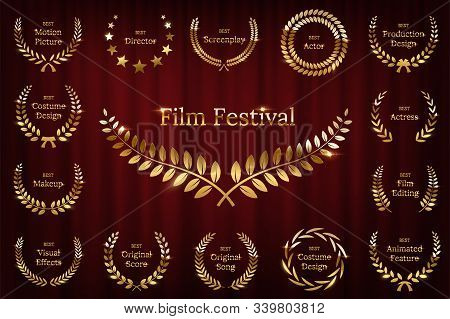 Golden Shiny Award Laurel Wreaths Isolated On Red Curtain Background. Vector Film Awards Design Elem