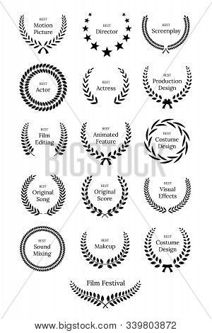 Black Laurel Wreath With Film Awards Design Elements. Premium Insignia, Traditional Victory Symbol O