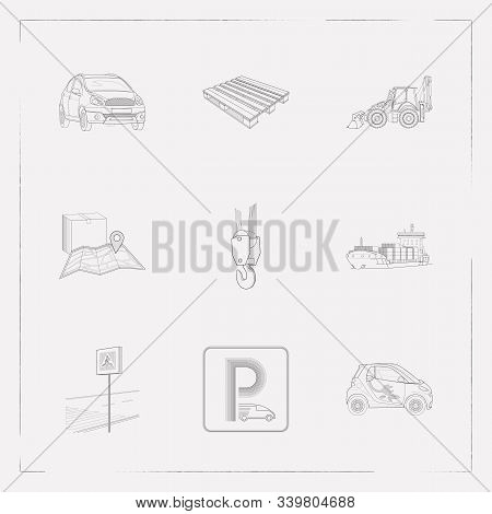 Set Of Vehicle Icons Line Style Symbols With Backhoe, Eco Car, Crane And Other Icons For Your Web Mo