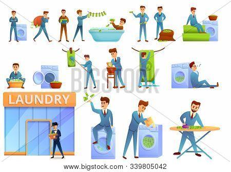 Money Laundering Icons Set. Cartoon Set Of Money Laundering Vector Icons For Web Design