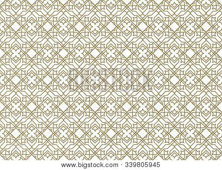 Seamless Gold Geometric Pattern. Islamic Pattern. Arabic, East Ornament, Indian Ornament, Persian Mo