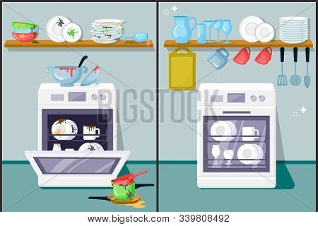 Dirty And Clean Dishes Flat Vector Illustration