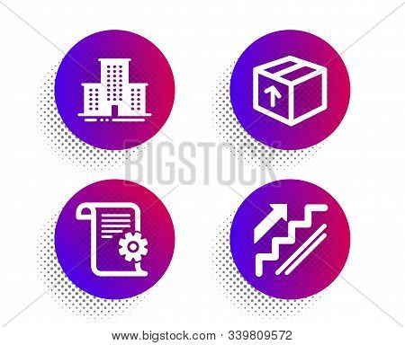 Package, University Campus And Technical Documentation Icons Simple Set. Halftone Dots Button. Stair