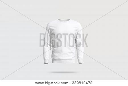 Blank White Casual Sweatshirt Mock Up, Gray Background, 3d Rendering. Empty Men Casual Sweat Shirt M
