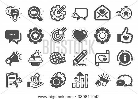 Brand Social Project Icons. Business Strategy, Megaphone And Representative. Influence Campaign, Soc