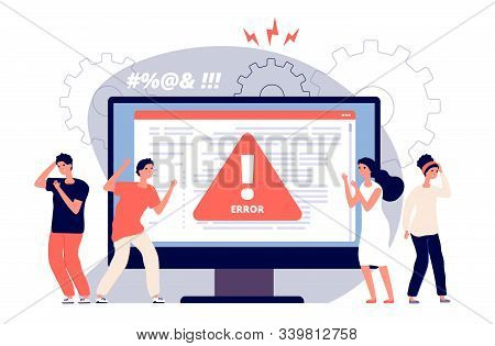 Computer Error. Warnings Unavailable Page Users, Attention Symbol Alerts Of Problem, Angry Clients N