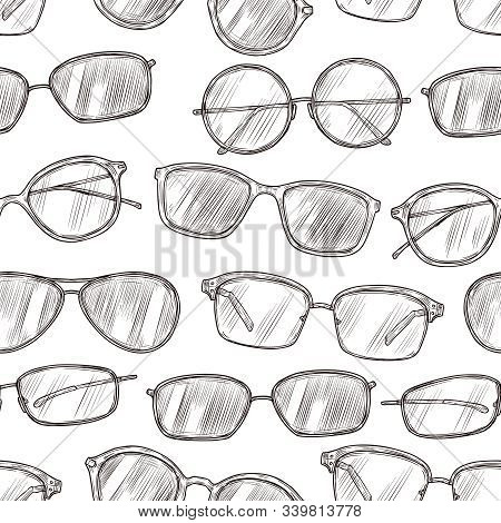 Sketch Sunglasses Seamless Pattern. Hand Drawn Beach Glasses 80s Retro Vector Texture. Illustration