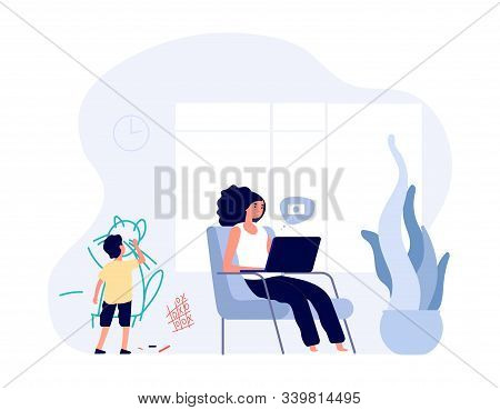 Internet Addiction. Mom Surfs In Internet With Laptop. Kid Creates Chaos In Home. Single Mother Vect