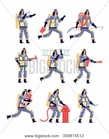 Fireman. Firefighter Characters Saving People, Rescue Equipment. Firefighters In Helmet With Extingu