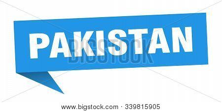 Pakistan Sticker. Blue Pakistan Signpost Pointer Sign