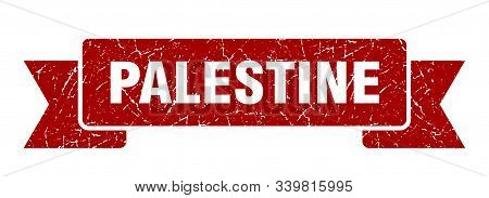 Palestine Ribbon. Red Palestine Grunge Band Sign
