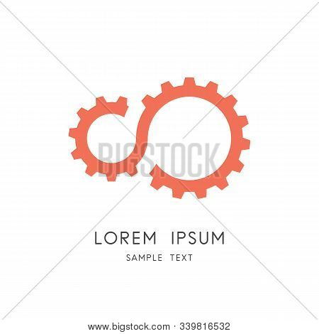 Gear Transmission Logo - Couple Of Pinions, Gearing Or Toothing Symbol. Mechanics And Mechanical Eng