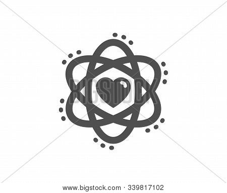 Energy Sign. Atom With Heart Icon. Chemical Element Symbol. Classic Flat Style. Simple Atom Icon. Ve