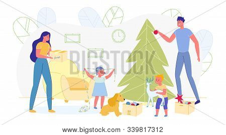 People Decorating Christmas Tree With Balls And Garlands. Happy Family Of Mother, Father, Two Cute L