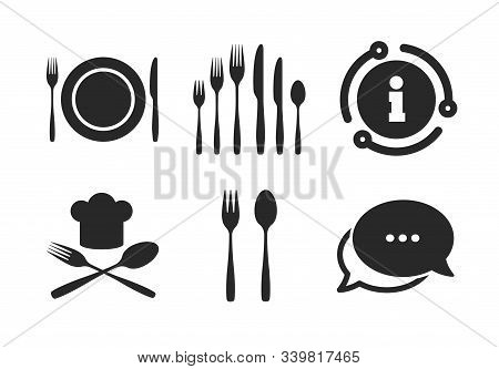 Chief Hat Sign. Chat, Info Sign. Plate Dish With Forks And Knifes Icons. Crosswise Cutlery Symbol. D
