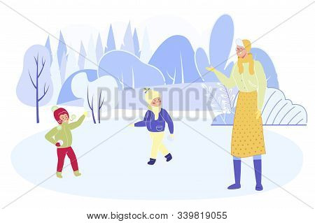 Grandchildren And Grandmother Playing Snowballs On Street Spending Time Together Outdoors At Winter