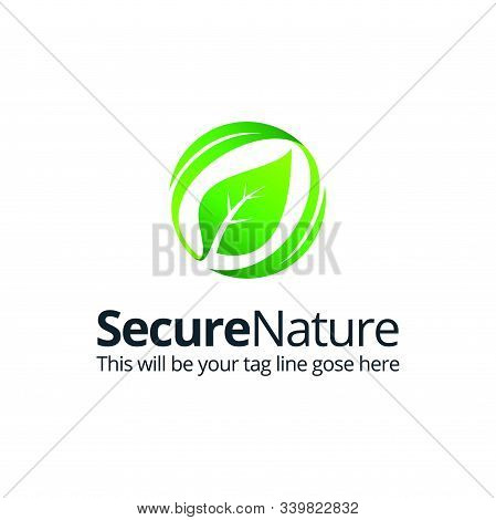 Abstract Sphere Green Leaf Logo Element Vector Design Ecology Symbol. Leaf Logo Shape Icon And Green