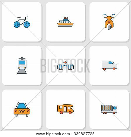Transit Icons Colored Line Set With Train, Bicycle, Scooter And Other Truck Elements. Isolated Vecto