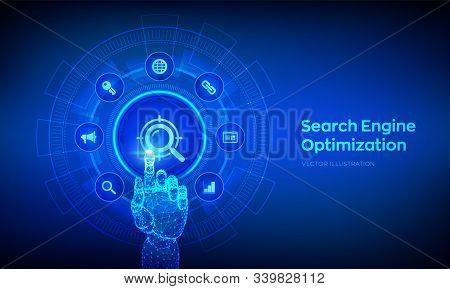 Seo. Search Engine Optimization. Marketing Ranking Traffic Website Internet Business Technology Conc