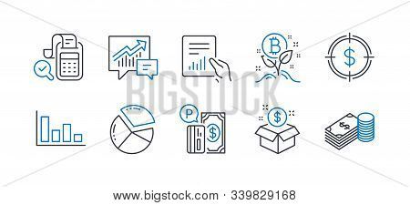 Set Of Finance Icons, Such As Post Package, Document, Dollar Target, Bitcoin Project, Histogram, Acc