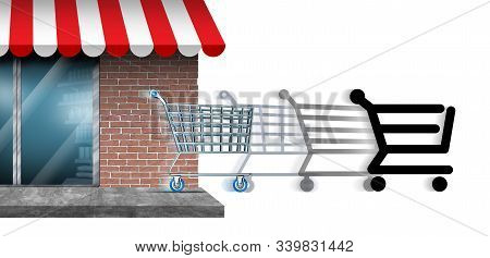 Brick And Mortar Offline Store To Online Commerce Shopping Or Internet Commerce Change And Transitio