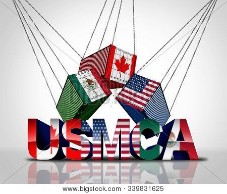 Usmca Agreement Or The New Nafta United States Mexico Canada Legislation With North America Flags As