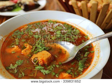 Closeup A Bowl Of Mouthwatering Georgian Hot Beef Soup Called Khashi