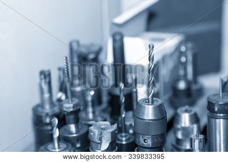 The Various Type Of Cnc Milling Cutting Tools On The Tool Room. The Cutting Tools For Machining Cent