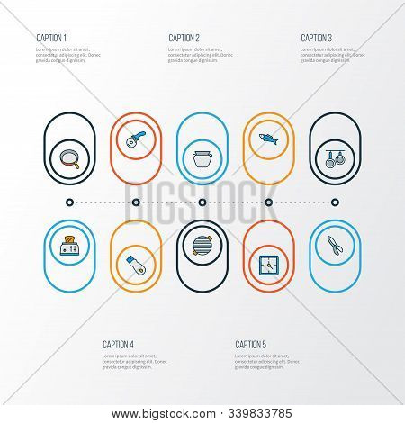 Cook Icons Colored Line Set With Pizza Knife, Pans, Bbq And Other Skillet Elements. Isolated Vector