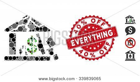 Mosaic Broken Bank Icon And Rubber Stamp Seal With 40 Percent Off Everything Text. Mosaic Vector Is