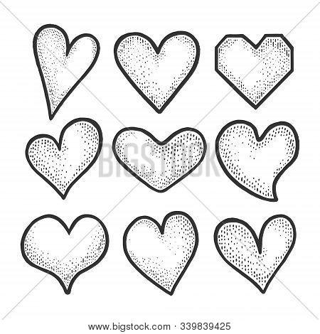 Heart Symbol Set Sketch Engraving Vector Illustration. Romantic Love Lovesickness Symbol. T-shirt Ap
