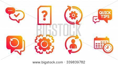 Recovery Data, Seo Gear And Cogwheel Line Icons Set. Unknown File, Approved And Quick Tips Signs. Pe